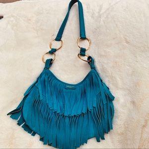 YSL Saint Laurent Bag in Teal Blue Suede & Leather